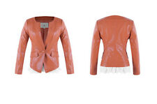 New Women's Vintage Slim Biker Motorcycle PU Soft Leather Lace Jacket Coat