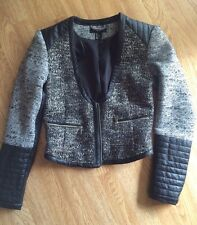 H&M Tweed Leather Blazer Jacket Cropped Size 6 New Runs Small Fits Like Size 4-2