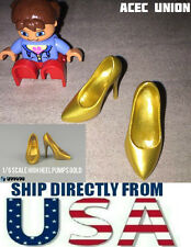 "U.S. SELLER 1/6 Scale High Heel Pumps Shoes GOLD For 12"" Female Figures"