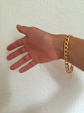 "Never Fade 8mm 8"" 18K Yellow Gold Plated Chain Bracelet Men's Women's Christmas"