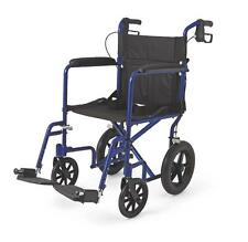Medline Transport Chair Wheelchair Light Weight Aluminum w/ Hand Brakes BLUE