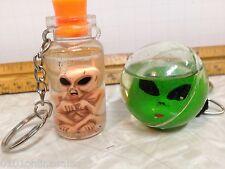 2 Aliens in Water Bottle/Globe Keychains