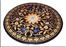 "48"" Black Marble Inlaid Coffee Dining Table Top Mosaic Shopping Gifts Art New"