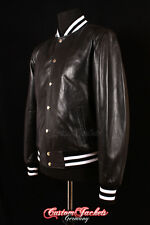BASEBALL OLD SCHOOL Premium College jacket Real leather XS-3XL Green Blue
