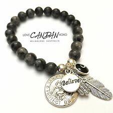 Evil Eye Bracelet With Saint Christopher Believe Hamsa Hand Angel Wing Charms