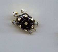 KENNETH LANE BLACK CRYSTAL TURTLE PIN