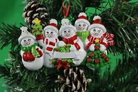 PERSONALISED CHRISTMAS TREE DECORATION  ORNAMENT SNOW FAMILY OF 5 GIFT