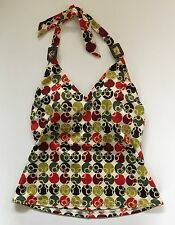 Lands End Tankini Halter Swim Top Womans 8 Padded Multi Color Asian Polka Dots