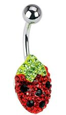 Belly Button Ring Crystal Ferido Strawberry Charm 316L Surgical Steel Navel
