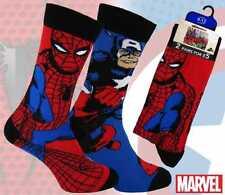 Mens 2 Pack Marvel Comic Socks Spiderman & Captain America Perfct Gift size 9-12