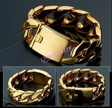 Huge 24mm*8.66inch Stainless Steel Gold Plated Heavy Curb Chain Mens Bracelet
