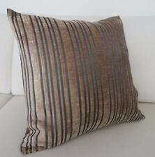 Quality Satin & Velvet Brown/Charcoal Striped Cushion Cover 45cm