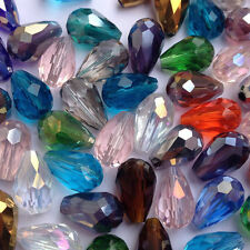 Wholesale 100pcs 8x6mm Teardrop Glass Faceted Loose Crystal Spacer Beads