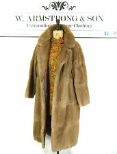 Women's VINTAGE Blonde Brown REAL MUSQUASH FUR Long Party DIVA Glam 70s Coat L