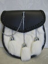 White Rabbit & Leather with Pin Closure Sporran for Kilts Includes Chain Belt