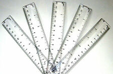 "5 x Clear Plastic Rulers 15cm - 6"" Ruler - Schools,Office Free Same Day Dispatch"