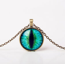 "CATS EYE Glass Dome 21"" Pendant Necklace"
