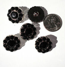 Black Rhinestone Buttons Acrylic 22mm Shank Back with Faceted Centers