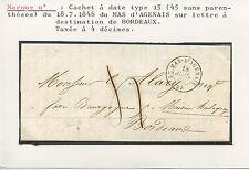 LETTRE ANCIENNE / LE MAS D'AGENAIS / BORDEAUX / TAXE 4 DECIMES 1846