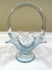 "Fenton Light Blue Inverted Strawberry 6 1/2"" Tall Glass Basket"