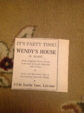 Ephemera Advert Wendy's House Loseby Lane Leicester M48