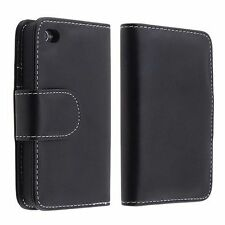 Black Leather Credit Card Wallet Pouch Case Cover For Apple iPhone 4 4S 4G 4GS
