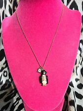 Betsey Johnson Vintage Snow Angel Winter Tuxedo Crystal Penguin Necklace RARE