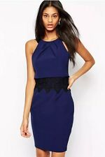 Lipsy Michelle Keegan Navy Blue 2 in 1 Lace Detail Size 12 Dress Party Christmas