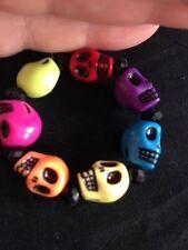 Smiling Skulls, Childrens Multi-coloured Skulls, Bracelet,  Party Bag Fillers