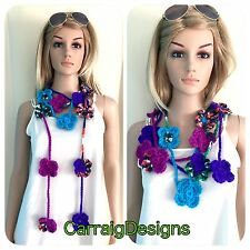 HANDMADE Women's scarf flower lariat infinity cowl knit crochet necklace hippie