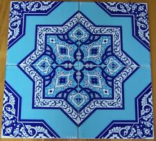 "CLEARANCE Raised 10 8""x8"" Blue & White Turkish Iznik Floral Ceramic Tiles"