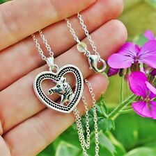 .925 Sterling Silver NECKLACE Horse Head Heart Border Pendant Pony Lover Gift