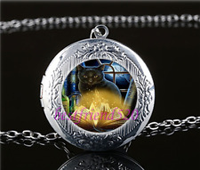 Black Cat With Book Cabochon Glass Tibet Silver Locket Pendant Necklace