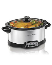 Hamilton Beach 33473 Countertop Programmable Slow Cooker, 7-Quart, Silver