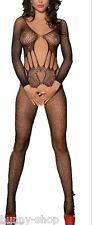 Schwarzer Langarm Netz Catsuit Body Stocking Größe One Size für ca. S-M