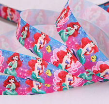"7/8 "" 22mm DISNEY PRINCESS ARIEL PRINTED GROSGRAIN RIBBON/ 5YARDS/DIY HEADBAND"
