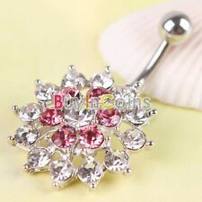 Crystal Flower Dangle Button Navel Belly Barbell Ring Body Piercing Jewelry