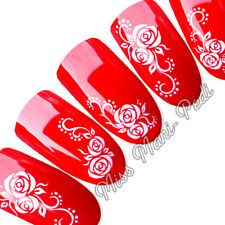 Nail Art Water Slide Transfers Decals White Roses Swirls Flowers Floral Y028