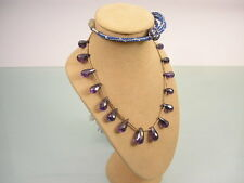 VINTAGE AMETHYST GLASS TEARDROP PEAR SWAG BEAD NECKLACE 85CM LONG [FC1]