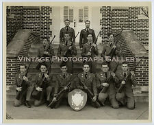 Vintage Photo Group Of Men With Rifles Massanutten Military Academy Woodstock VA