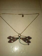 Vintage pididdly links dragonfly brass necklace art nouveau swarovski stunning