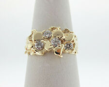 Genuine Diamonds 1/3ct Solid 14k Yellow Gold Nuggets Ring FREE Sizing