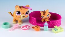 Littlest Pet Shop Mommy and Baby Tiger #3593 #3594 Orange Purple + Accessories