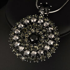 Luxury Dazzling Crystal Big Circle Pendant Long Necklace For Women Black/White