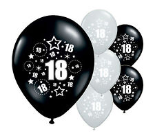 "8 X 18TH Cumpleaños Negro y Plata 12"" Helio o Airfill Balloons (PA)"