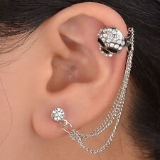 Graceful 1PC Gothic Skull Enamel Crystal Ear Chain Left Cuff Clip Earring Stud