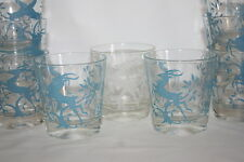 Vintage Mid Century  Deer Gazelle Federal Glasses Drink Whiskey Barware Lot