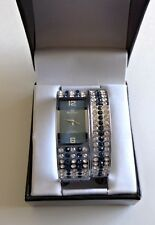 Mark Naimer Watch & Bracelet Set Clear Blue Rhinestone Fashion Jewelry Set