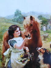 Little Girl apron of Flowers with Pony and Dog vintage