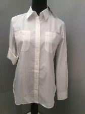 LAUREN JEANS CO RALPH LAUREN Ladies Blouse Size M White Long&3/4 Sleeve Cotton